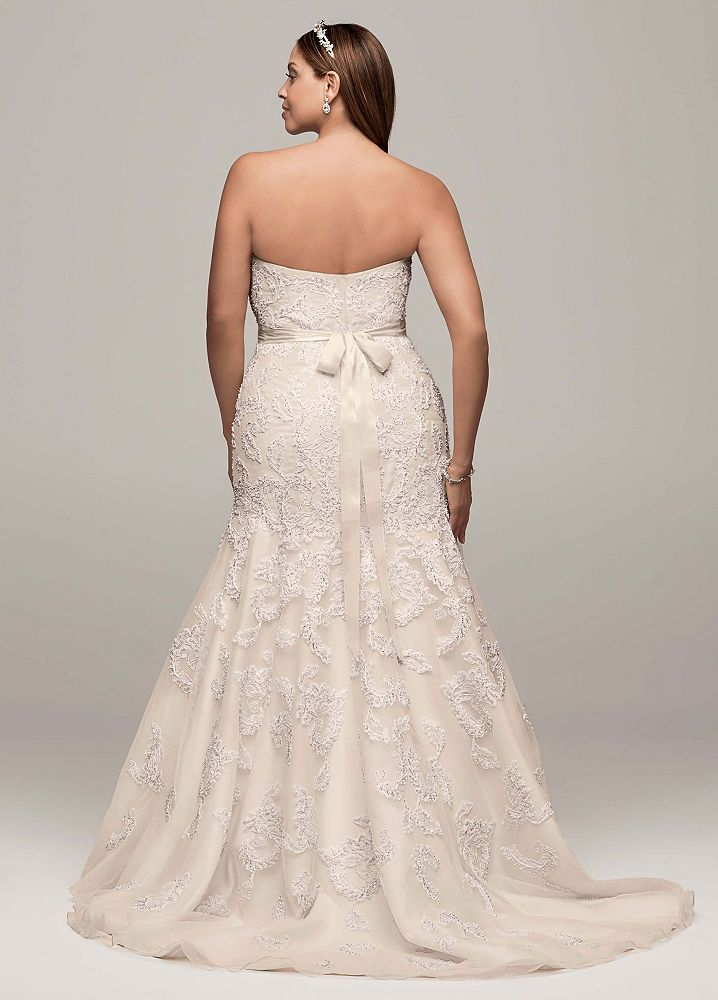 Taffeta Strapless Trumpet Wedding Dresses With Beaded Lace : Oleg cassini strapless trumpet all over lace and beaded