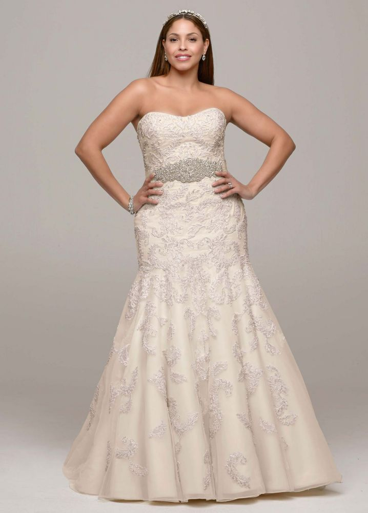 David 39 s bridal strapless trumpet all over lace and beaded for All over beaded wedding dress
