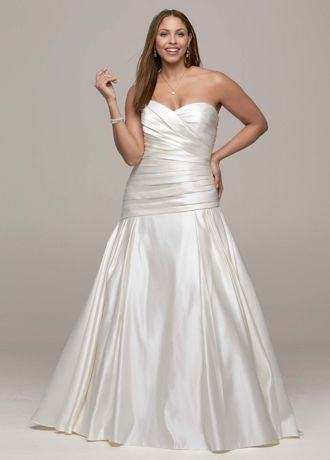David S Bridal Strapless Satin A Line Wedding Dress With