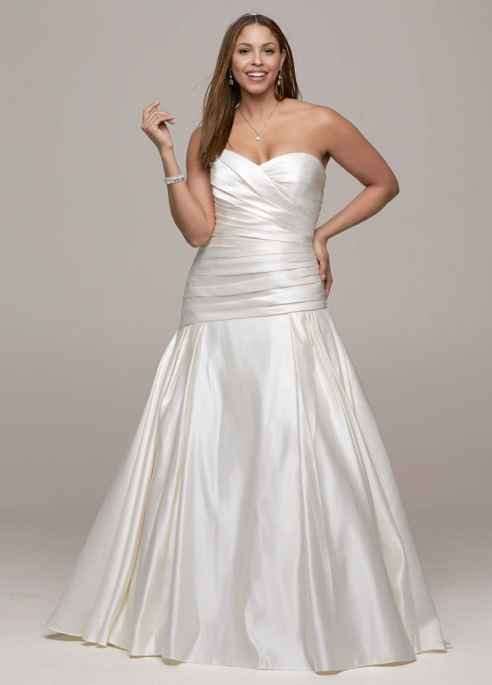 David 39 s bridal strapless satin a line wedding dress with David s bridal strapless wedding dress