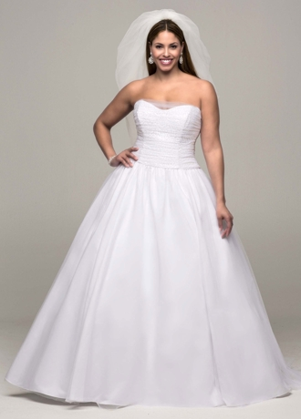 Ruched Corset Back Tulle Plus Size Wedding Dress 9MK3673