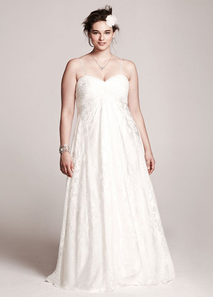 David 39 s bridal spaghetti strap a line plus size wedding for Plus size wedding dresses with straps