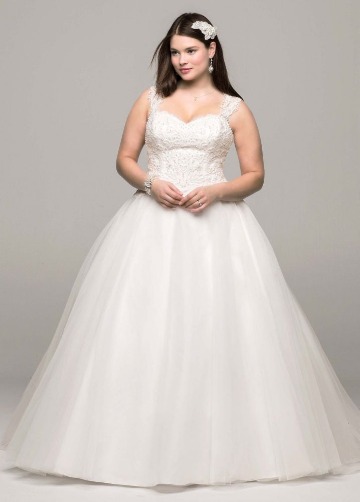 david 39 s bridal tulle ball gown wedding dress with illusion back detail ebay. Black Bedroom Furniture Sets. Home Design Ideas