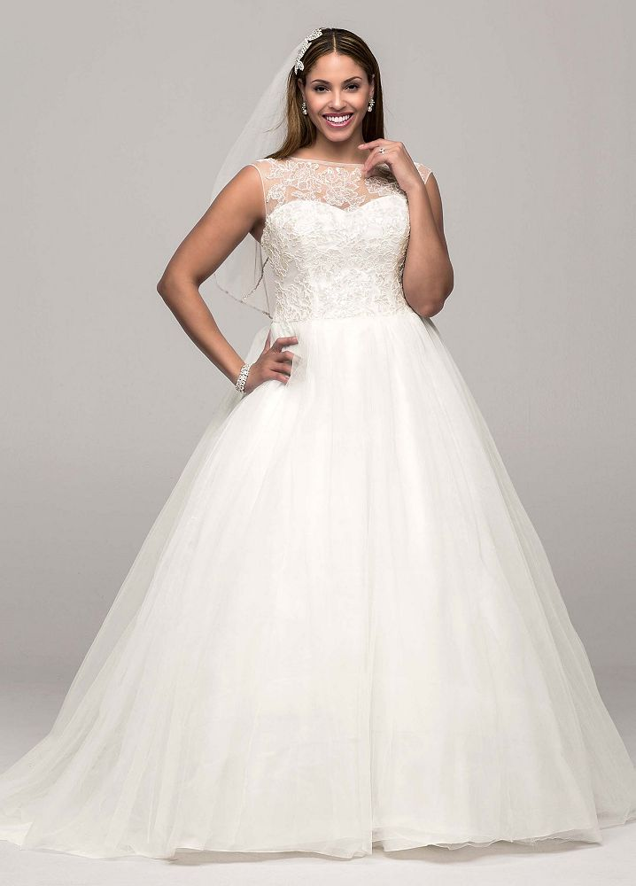 David 39 s bridal cap sleeve tulle ball gown wedding dress for Tulle wedding dress with sleeves