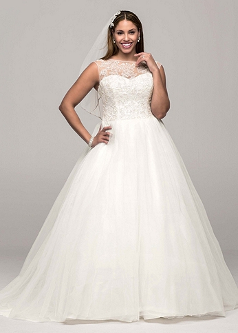 Cap Sleeve Tulle Ball Gown with Illusion Neckline AI13012792