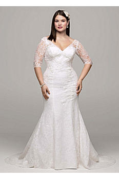 3/4 Sleeve All Over Lace Trumpet Gown AI13012761