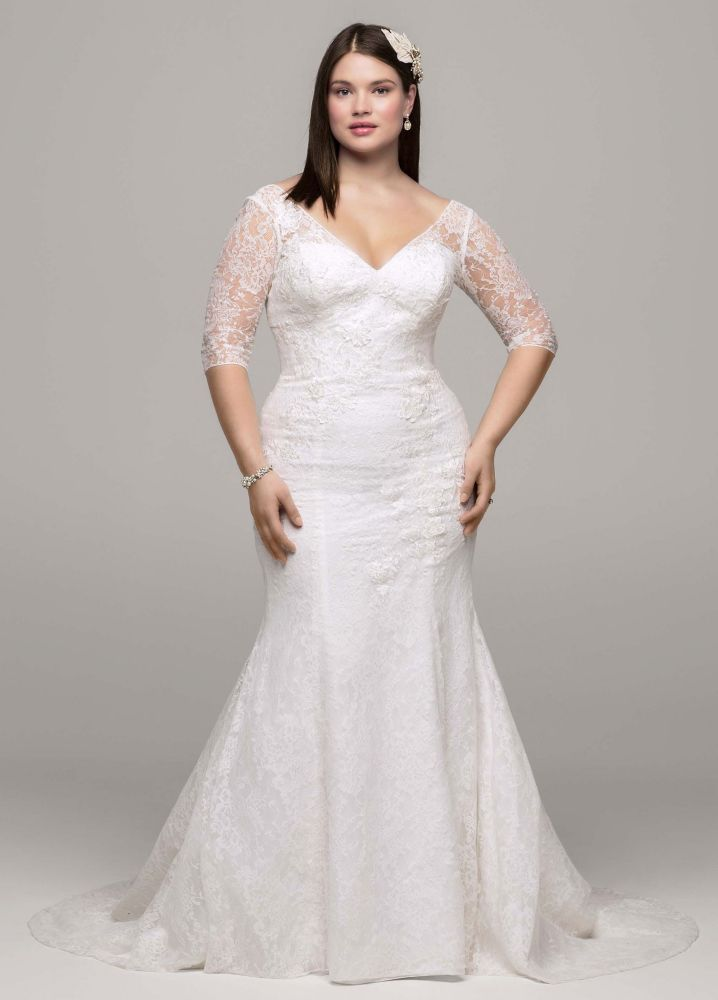 David 39 s bridal 3 4 sleeve all over lace trumpet wedding for Plus size trumpet wedding dress with sleeves
