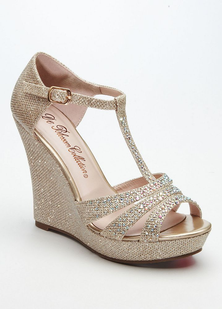 David's Bridal Wedding & Bridesmaid Shoes Glitter T Strap ...