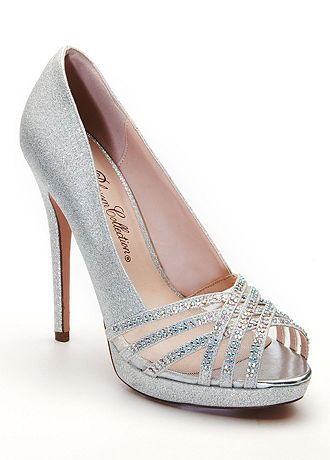 David's Bridal Wedding & Bridesmaid Shoes Peep Toe Heel with Crystal Detail