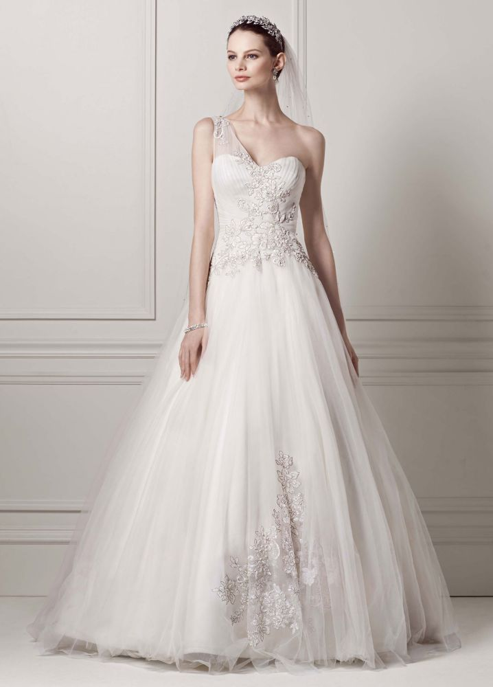 David 39 s bridal one shoulder tulle ball gown wedding dress for Wedding dress designer oleg cassini