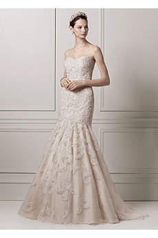 Strapless Trumpet All Over Lace and Beaded Gown
