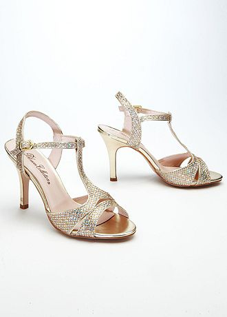 david s bridal wedding bridesmaid shoes sparkle mesh t