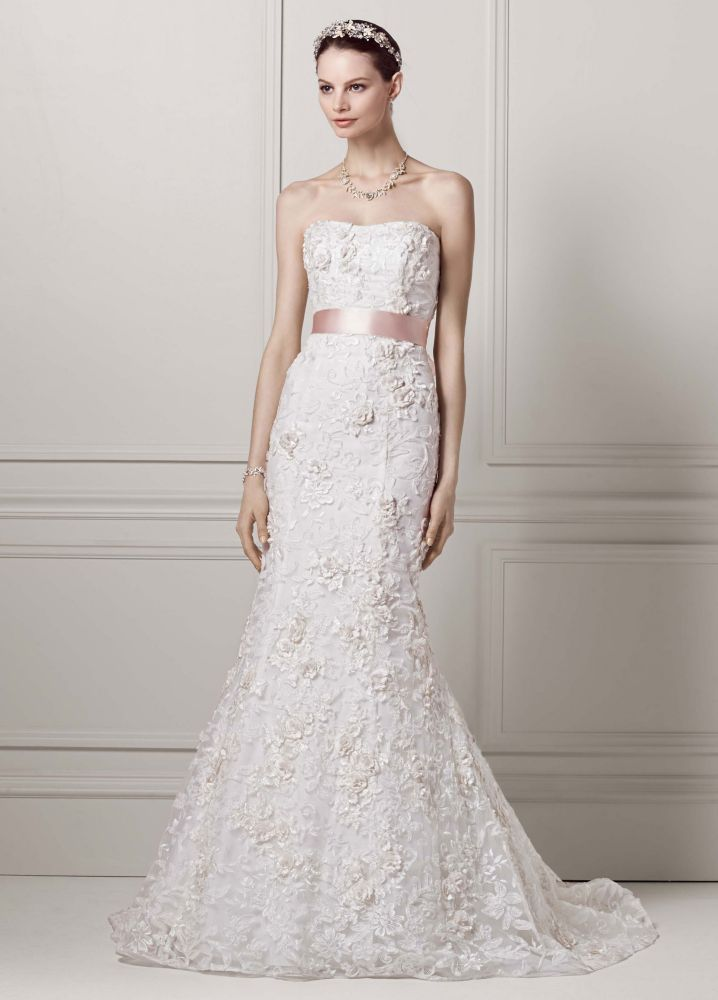 Oleg Cassini Fitted Trumpet Wedding Dress With Subtle Pink