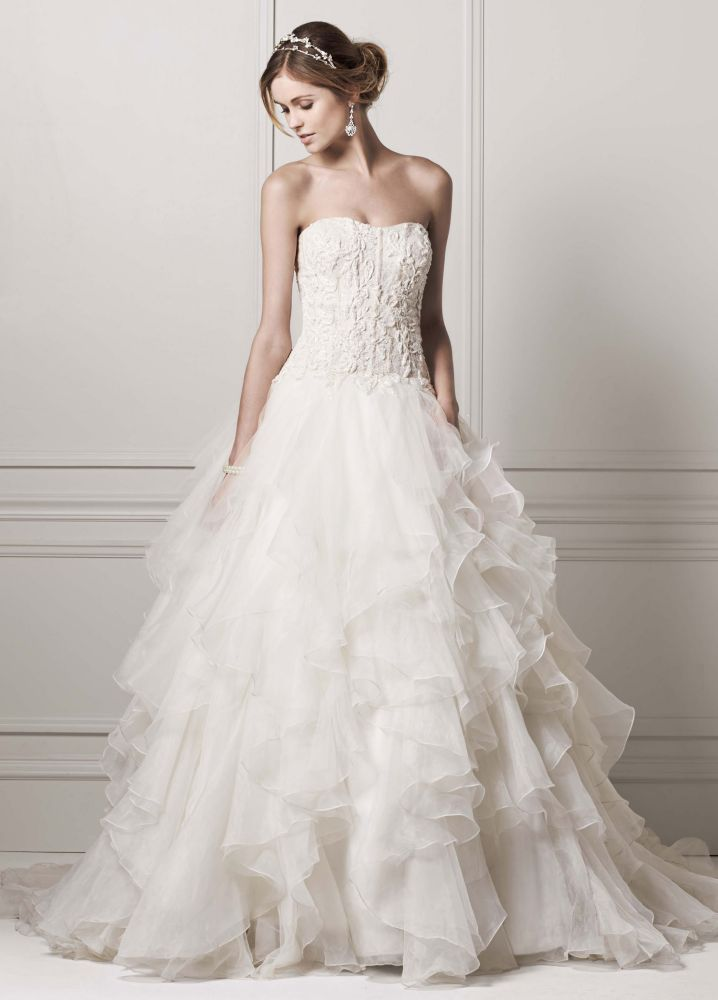 Oleg cassini strapless ball gown wedding dress with for Wedding dresses with ruffles