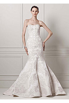 Petite Strapless Satin Trumpet Gown with Lace AI19030127
