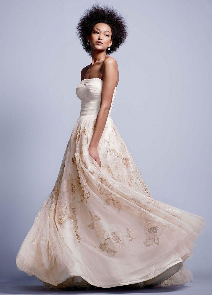 Oleg cassini strapless corset wedding dress with rose for Strapless bustier for wedding dress