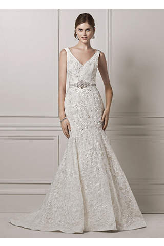 All Over Lace Trumpet Gown With Deep V Neckline