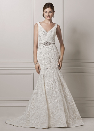 All Over Lace Trumpet Gown with Deep V Neckline CWG621