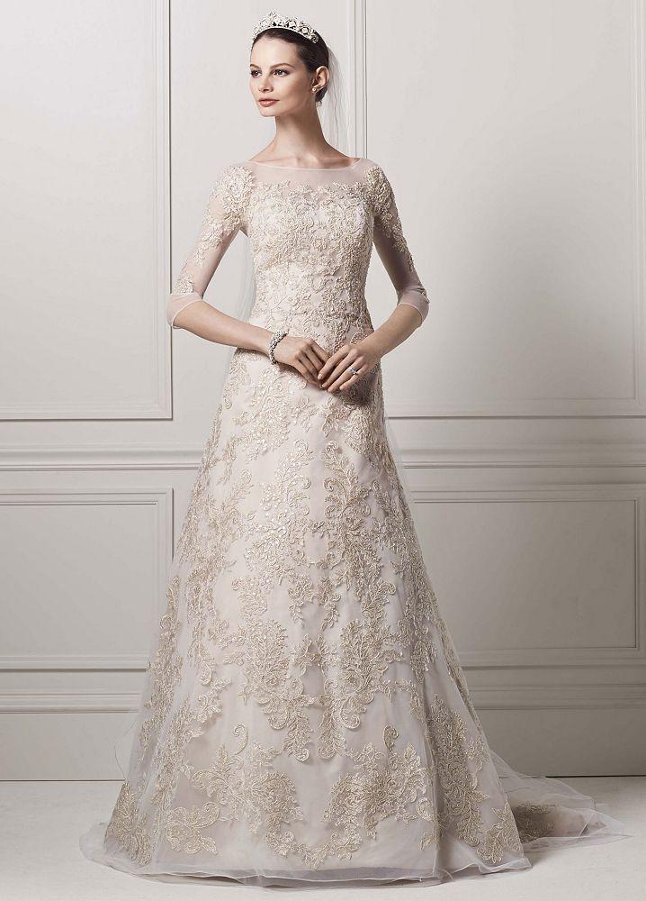 Oleg cassini 3 4 illusion sleeve lace a line wedding dress for Oleg cassini champagne wedding dress