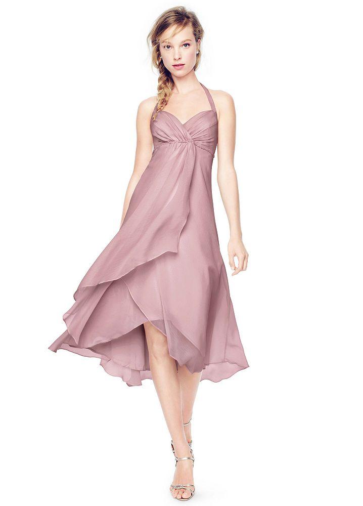 David 39 s bridal high low crinkle chiffon halter dress ebay for High low wedding dress davids bridal