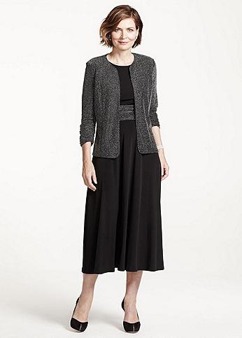 3/4 Sleeve Glitter Jacket with Long Jersey Dress JHDM6782