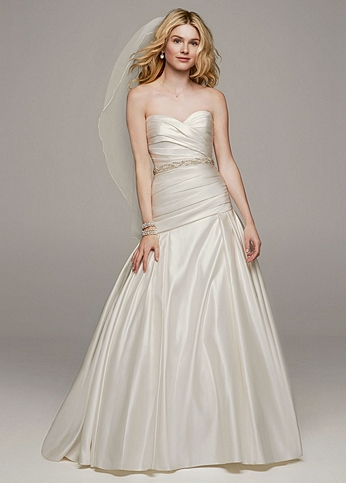 Strapless Satin A Line Gown with Ruched Bodice AI10043123
