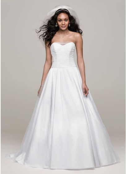 Strapless tulle wedding dress with corset back david 39 s for Strapless bra corset wedding dress