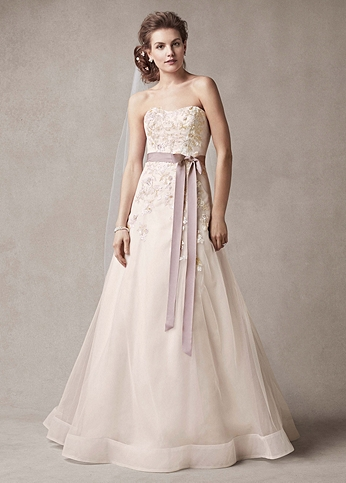 Strapless A-line Gown with Two Toned Skirt MS251074