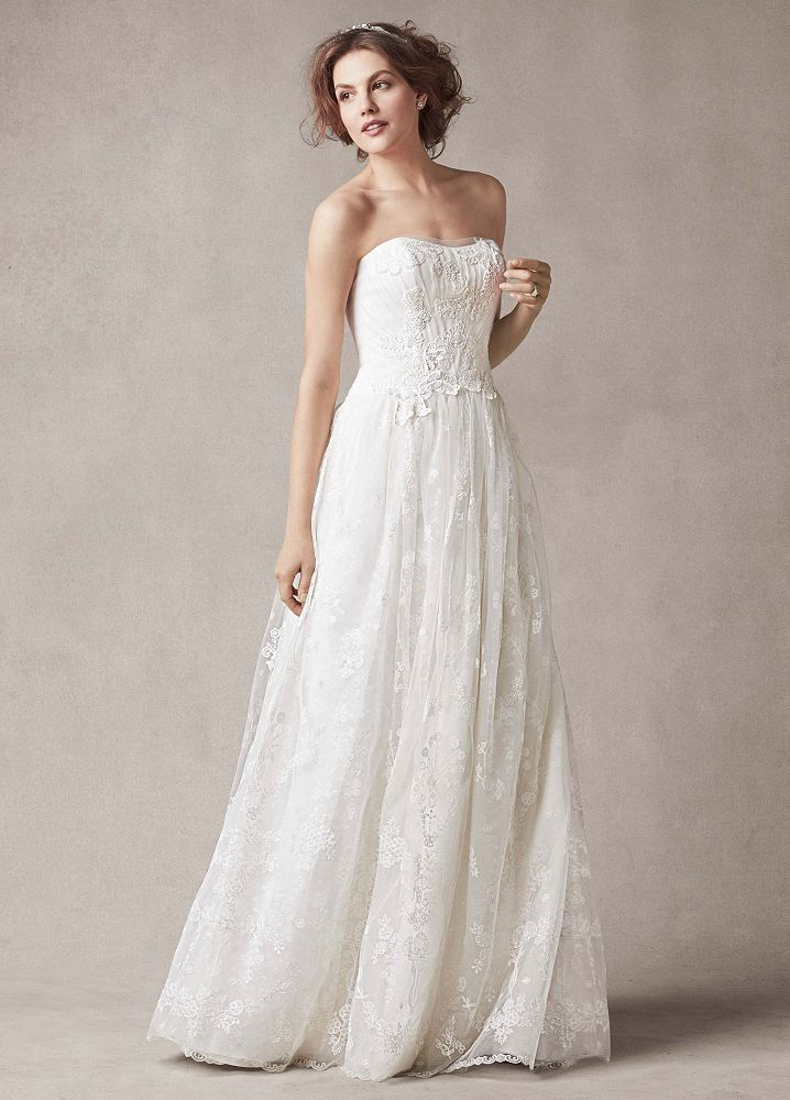 David 39 s bridal strapless sheath wedding dress with floral for Flower embroidered wedding dress