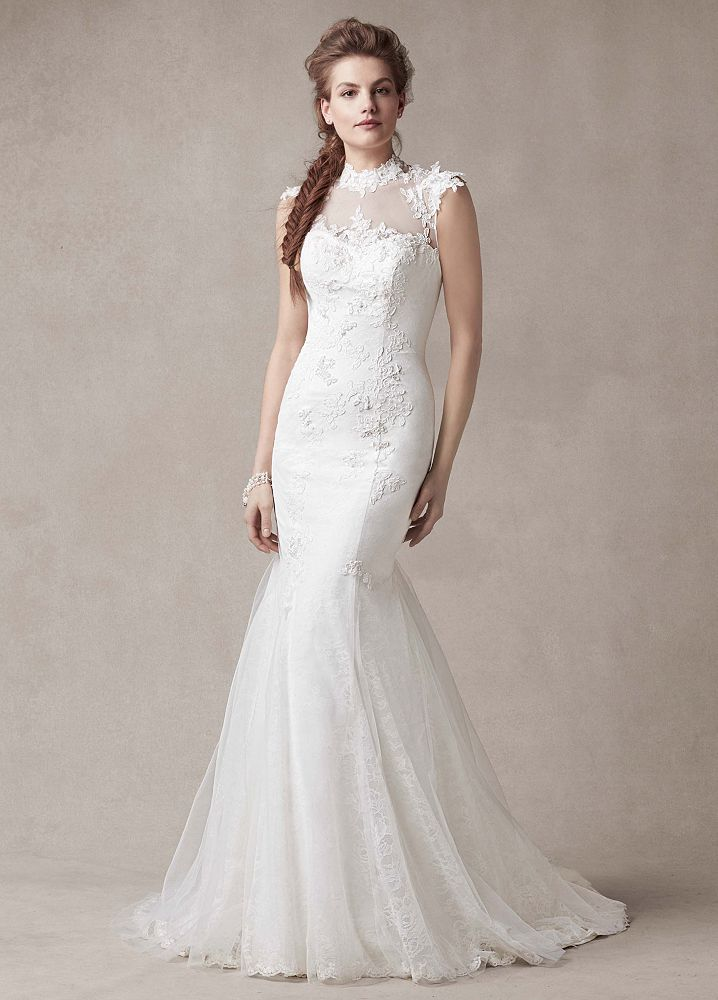 Melissa Sweet Chantilly Lace Wedding Dress With Tulle High