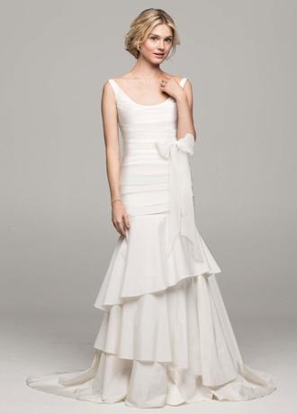 Taffeta Scoop Neck Tiered Wedding Dress PK3472