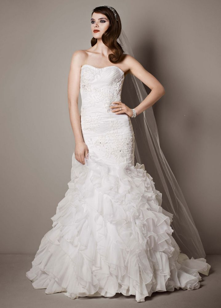Galina signature wedding dress with lace appliques and for Wedding dresses with ruffles