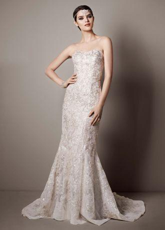 Galina Signature Strapless Trumpet Sequin Wedding Dress