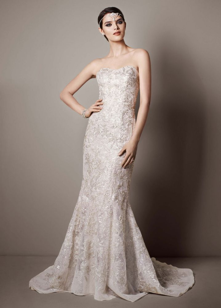 galina signature strapless trumpet sequin wedding dress