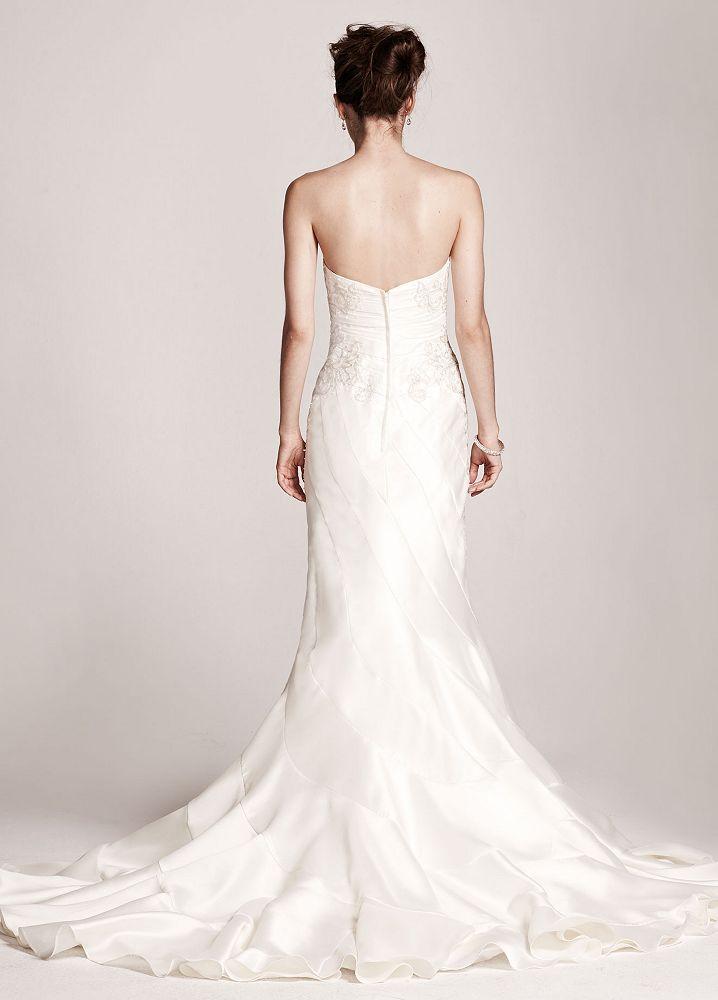 David 39 s bridal strapless mikado mermaid wedding dress ebay David s bridal strapless wedding dress