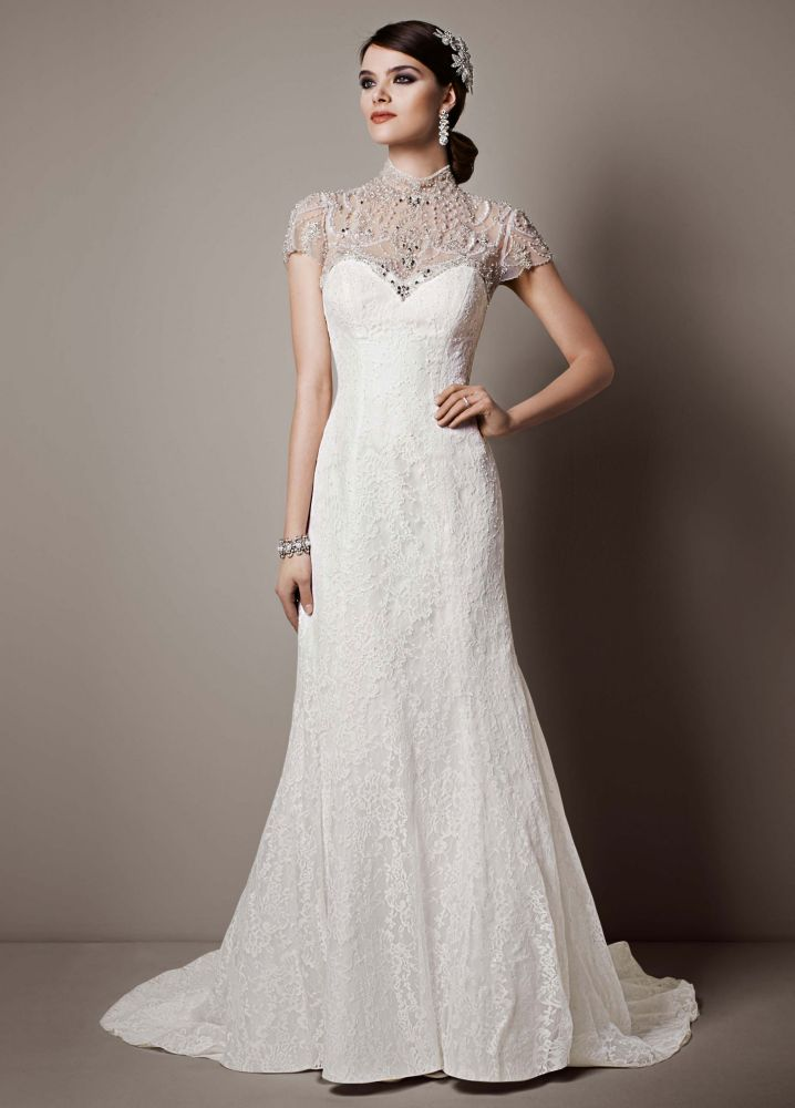 Galina signature lace sheath wedding dress with shawl wrap for Galina signature wedding dresses
