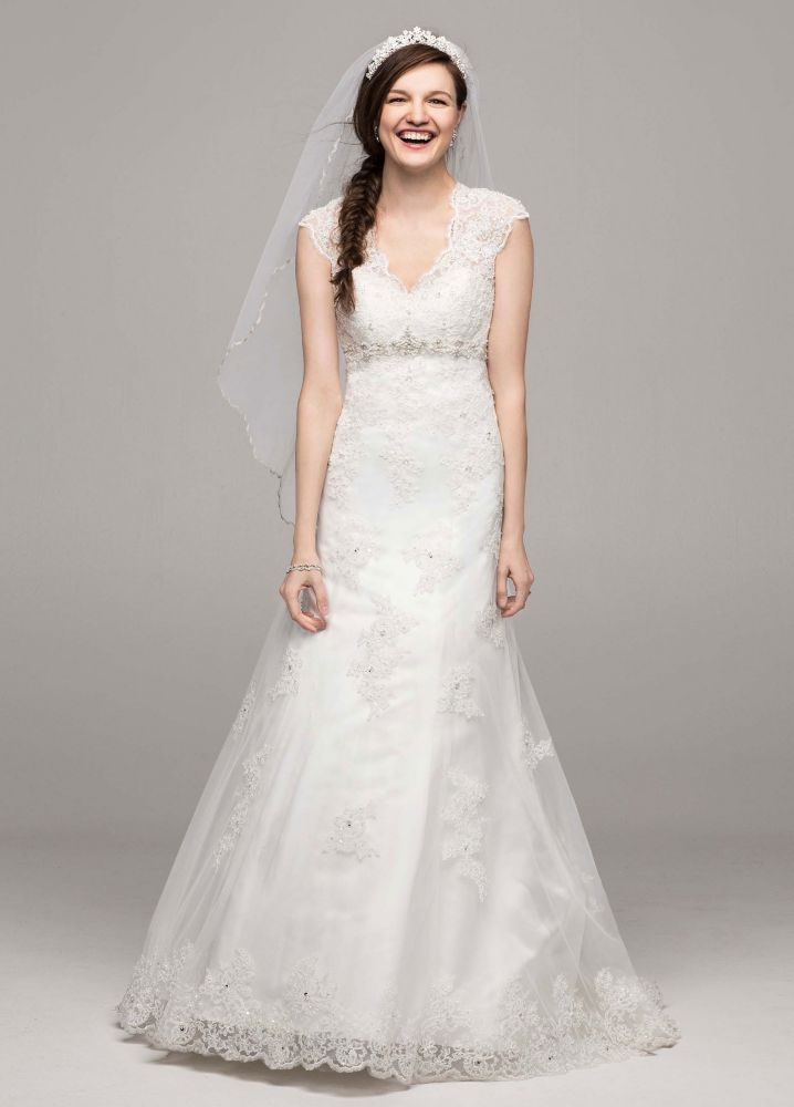 David 39 s bridal cap sleeve lace over satin wedding dress for Wedding dress david bridal