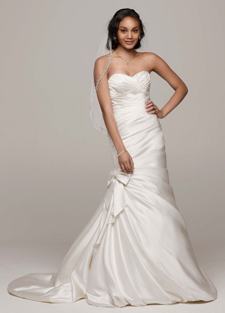 David 39 s bridal satin mermaid wedding dress with bow detail for Satin mermaid style wedding dresses