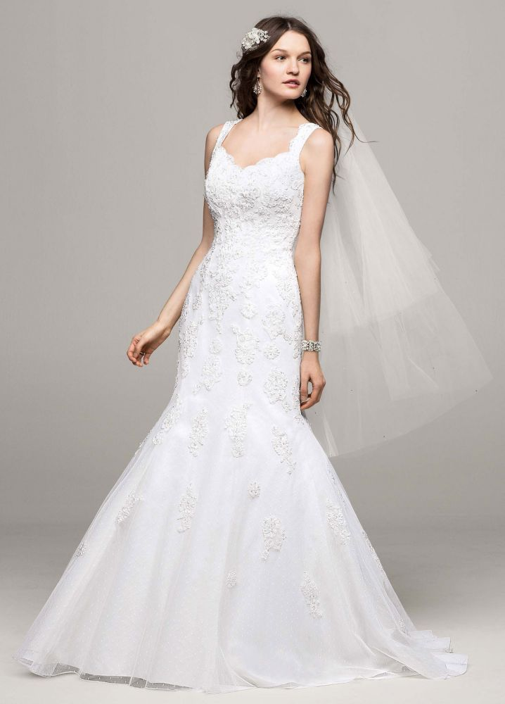 David 39 s bridal tank tulle trumpet wedding dress with lace for David s bridal lace wedding dress