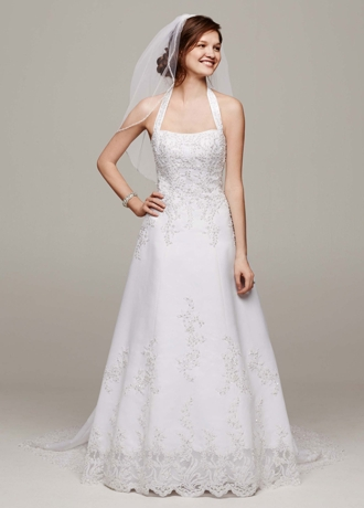 Satin Halter A-line Gown with Beaded Lace Applique V8377