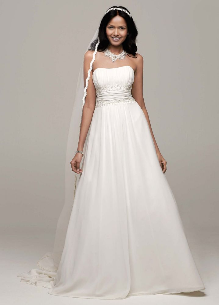 David39s bridal chiffon soft wedding dress with beaded lace for Chiffon wedding dress empire waist