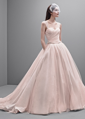 Taffeta Ball Gown with Contrasting Tulle Overlay VW351233