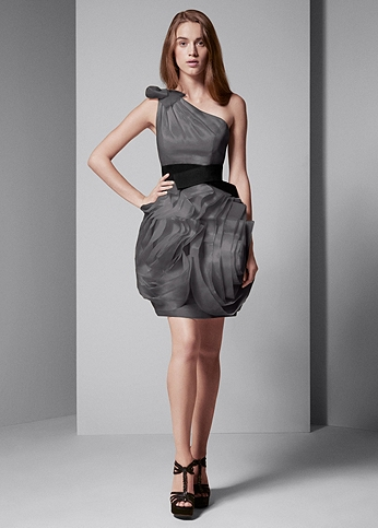 One Shoulder Organza Dress with Black Belt VW360012
