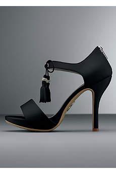 White by Vera Wang Black Sandals (Platform Sandal with Tassel Tie)