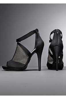White by Vera Wang Black Peep Toe Shoes (Platform Peep Toe Bootie with Fishnet Overlay)