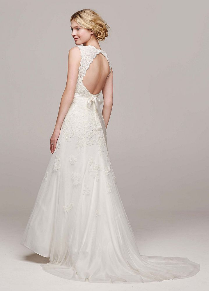 David 39 s bridal wedding dress petite cap sleeve trumpet for Wedding dresses idaho falls