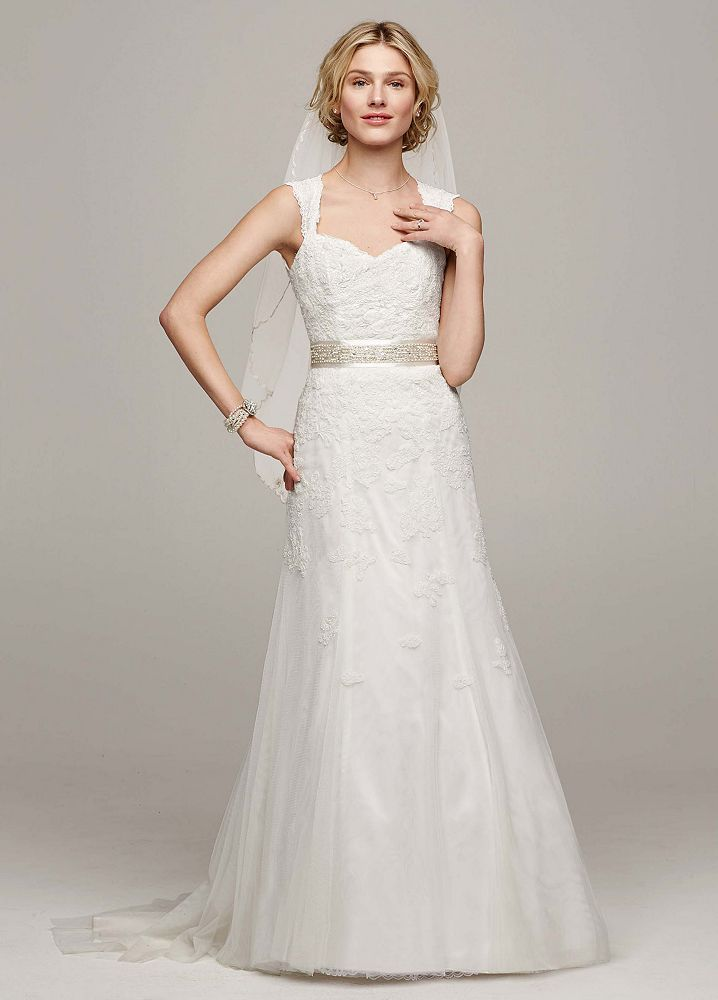 David 39 s bridal wedding dress petite cap sleeve trumpet for Lace cap sleeve keyhole back wedding dress