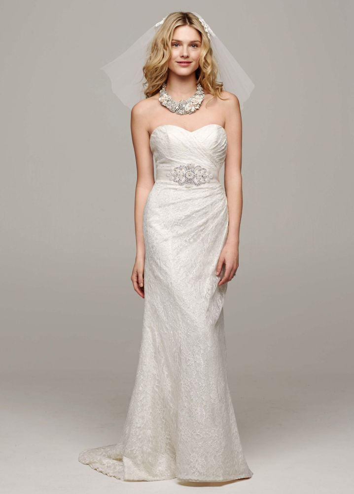 David 39 s bridal sweetheart strapless lace wedding dress ebay for Lace wedding dress davids bridal
