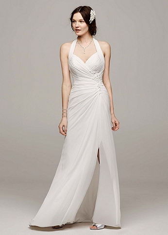 Chiffon Gown with High Slit and Halter Tie Back WG3482