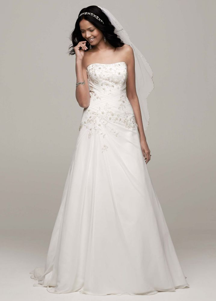 Chiffon over satin wedding dress with side draped skirt ebay for Side draped wedding dress
